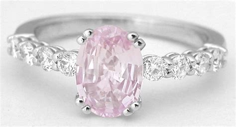 light pink sapphire engagement ring in 14k white