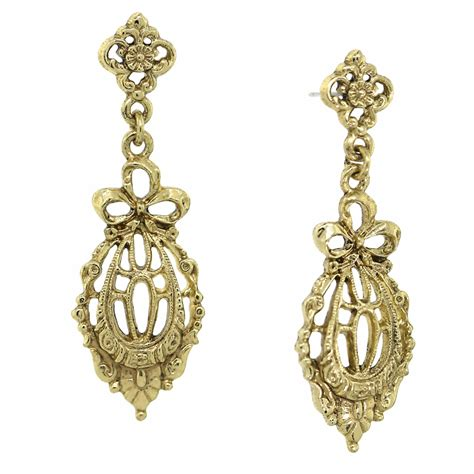 Downton Abbey Home Decor by Gold Bow Drop Filigree Earrings Downton Abbey Collection