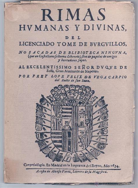 libro rimas humanas y divinas a 241 o 1634 f lo comprar libros antiguos cl 225 sicos en