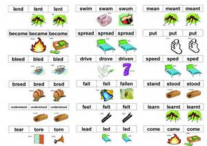 irregular verbs in picture rhymes to