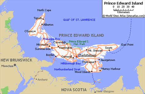 prince edward island map of canada map of roads of prince edward island maps of canada