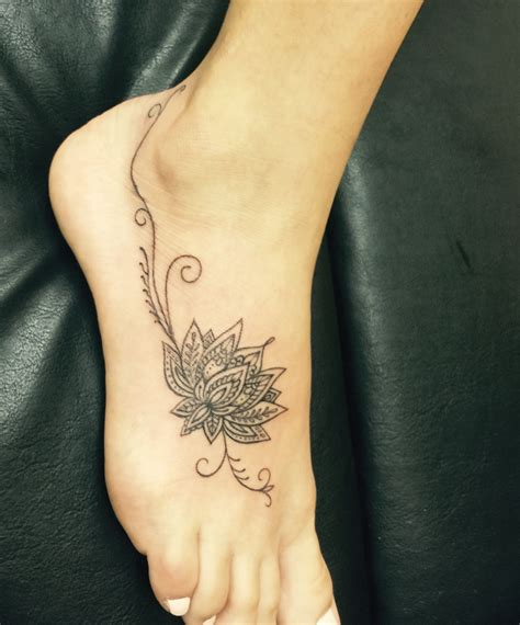 foot flower tattoo designs lotus flower foot tattoos flower