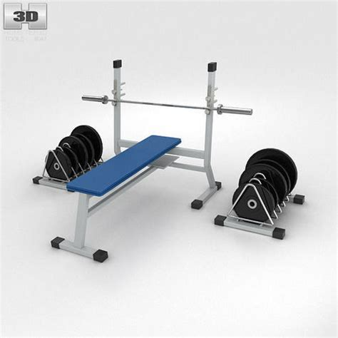image 3 4 weight bench weight bench with weights 3d model max obj 3ds fbx