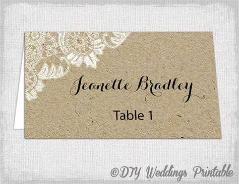 Rustic Place Cards Template by Rustic Place Cards Template Antique Lace Kraft Diy
