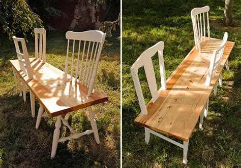 chairs into bench 31 change turns old chairs into bold retro benches