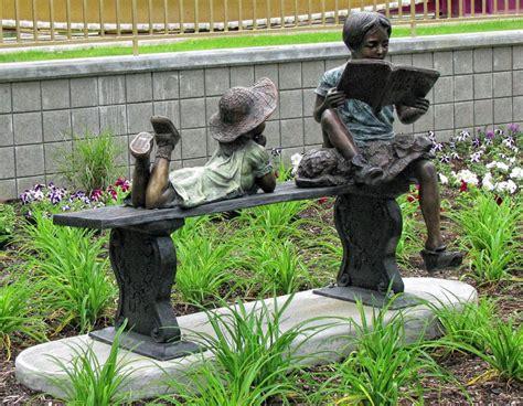 bronze children reading sculptures children statues