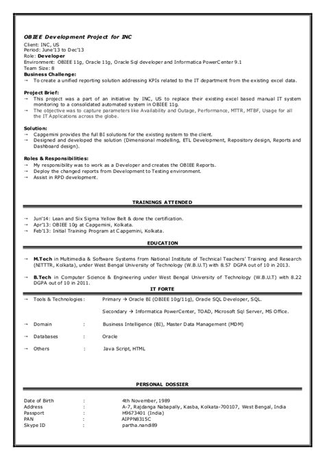 obiee developer resume obiee developer resume