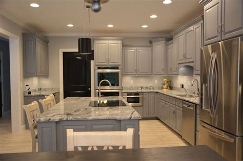 c kitchen kitchen grey cabinets viscon white granite and black