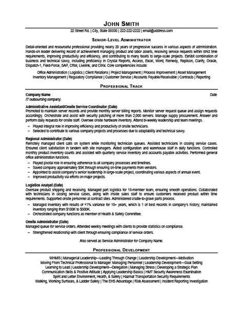 Senior Level Resume Templates by Senior Level Administrator Resume Template Premium