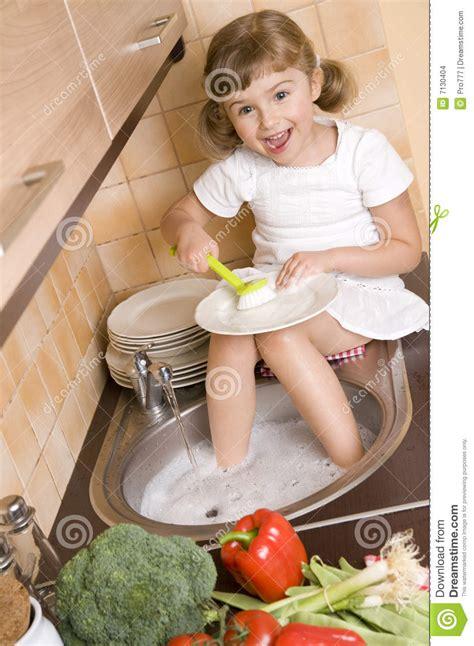 Bathtub Sounds Little Washing Dishes Stock Images Image 7130404