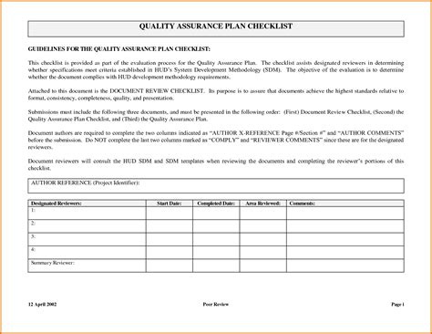 Quality Assurance Program Template by Quality Assurance Plan Templatereference Letters Words