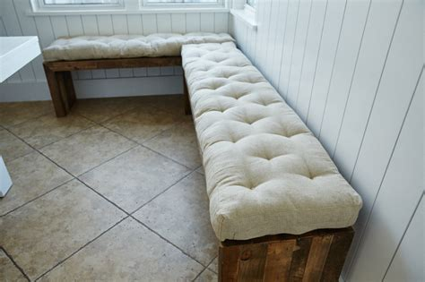 how to put a cushion on a bench 3 tufted wool filled bench cushion window seat 100
