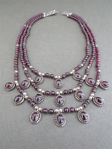 Garnet Necklace Sterling Silver vintage sterling silver garnet multi strand necklace ebay