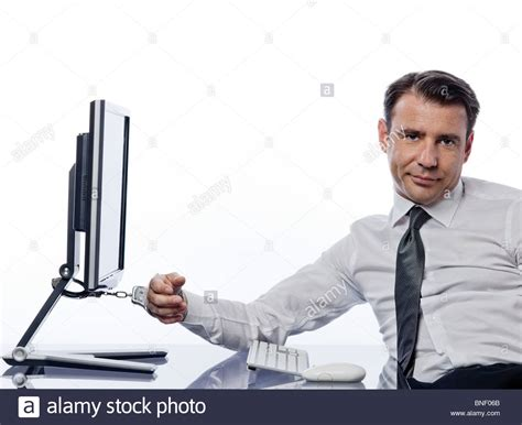 Computer Detox by One Caucasian Chained To Computer With Handcuffs