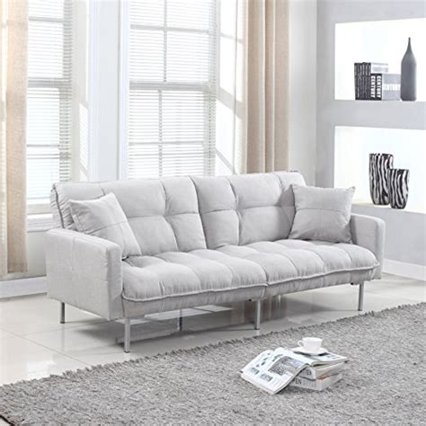 modern tufted linen splitback recliner sleeper futon sofa purple divano roma furniture collection modern plush tufted