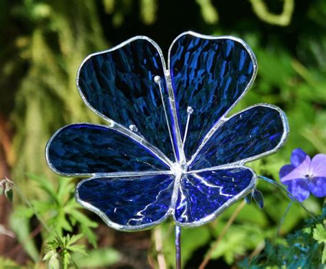 blue stained glass l stained glass royal blue flower garden ornament 22 00