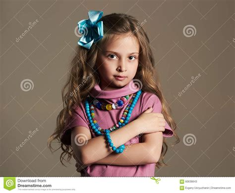Beautiful Little Girl.pretty Little Lady In Dress And Flower In Healthy Hair Royalty Free Stock