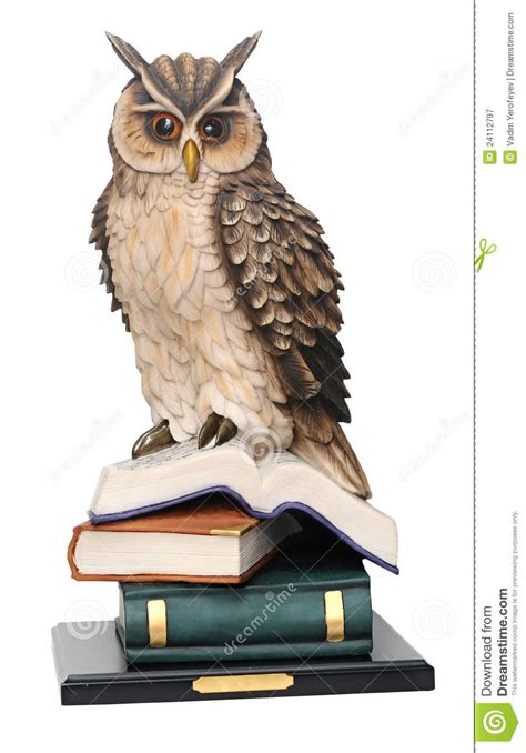 owl picture books stack of books and owl royalty free stock photography