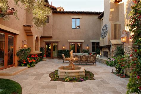 Gold Pedestal Table Interior Courtyard Exterior Southwestern With Water