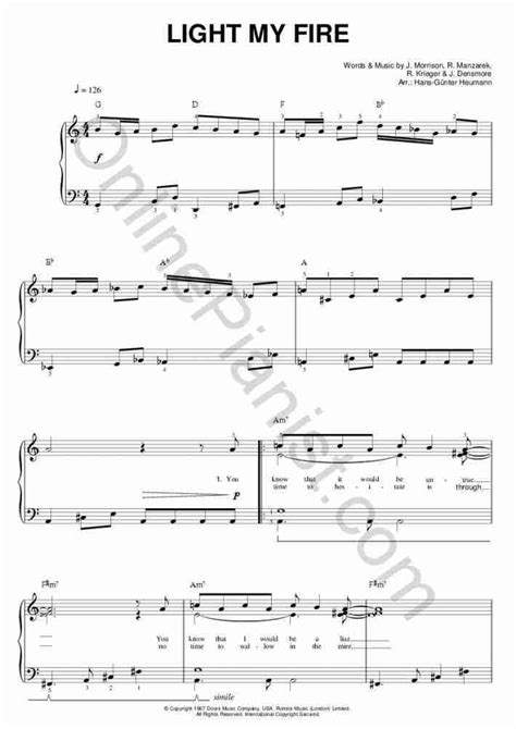 tutorial piano light my fire light my fire piano sheet music onlinepianist