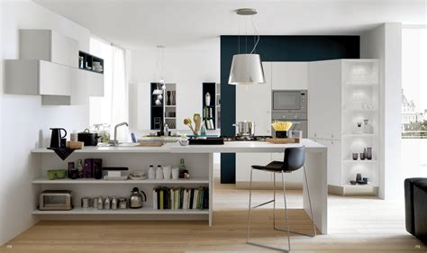 Open Kitchen by Open Modern Kitchens With Few Pops Of Color