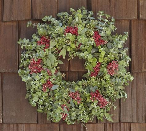 Live Garland Decor - live eucalyptus berry wreath traditional wreaths