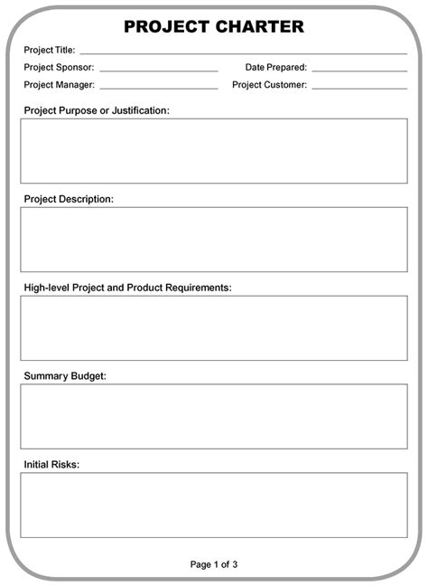 project charter pmbok template