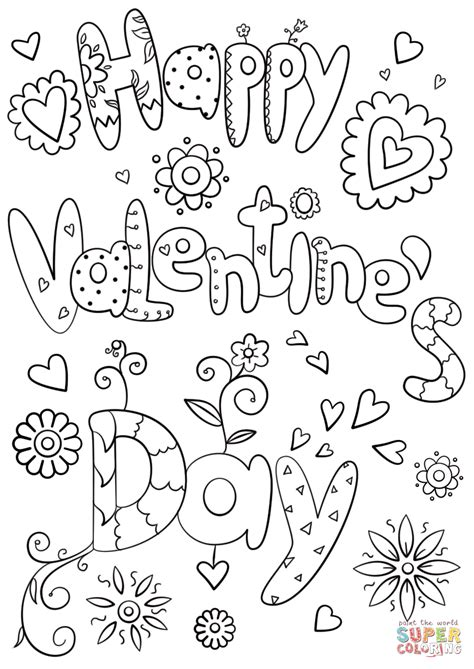 happy valentine s day coloring page free printable