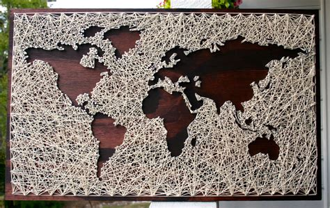 String World Map - world map wall string map world map map wood