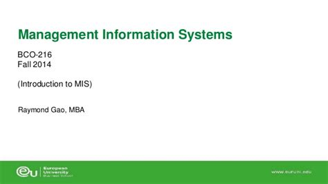 Mba Information Security Management In Madras by 1 Intro To Mis