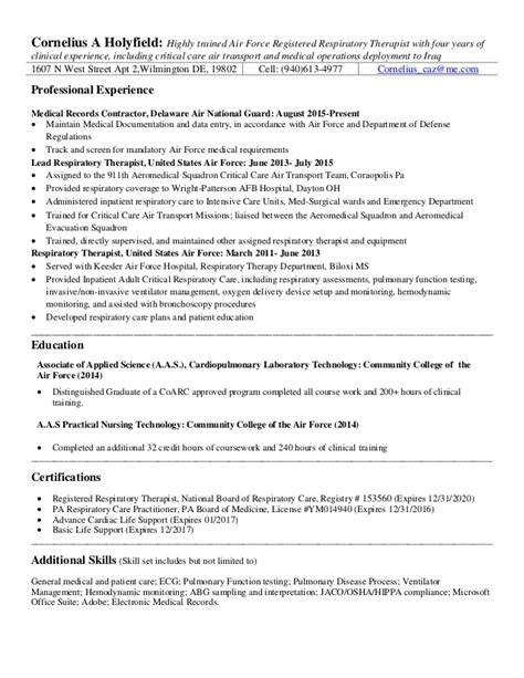 Respiratory Therapist Resume by Rrt Resume 2