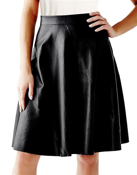 black swing skirt guess faux leather swing skirt in black lyst
