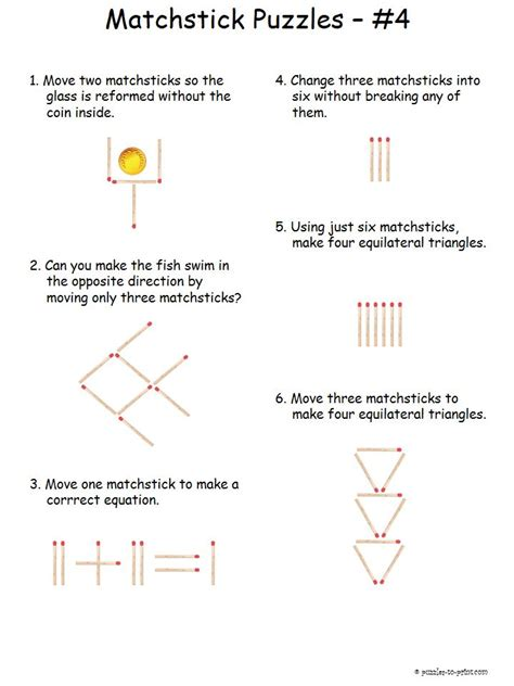 printable logic puzzles and brain teasers here is our fourth set of matchstick brainteasers we rank