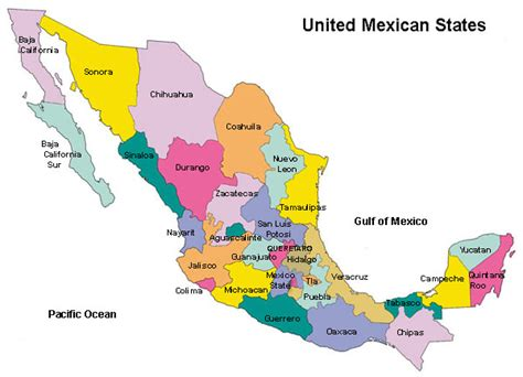 mexico states map mexico map by state