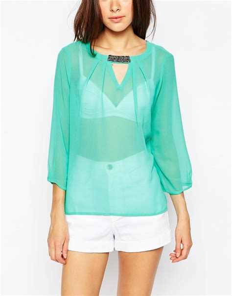Vero Moda Sleeve Blouse by Lyst Vero Moda Sheer 3 4 Sleeve Blouse With Embellished