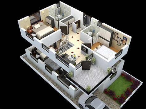 home interior design tool plan 3d cut model of duplex house plan interior design cut