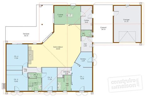 plan maison de plain pied 4 chambres grande maison de plain pied d 233 du plan de grande