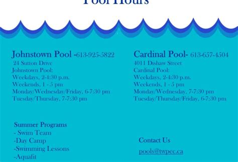 2016 swimming schedule township of edwardsburgh cardinal