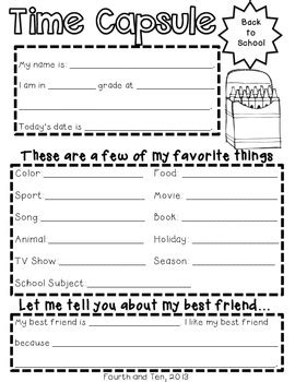 printable time capsule sheets school year time capsule printables by fourth and ten tpt