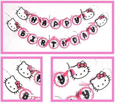 free printable hello kitty happy birthday banner hello kitty themed happy birthday party banner by