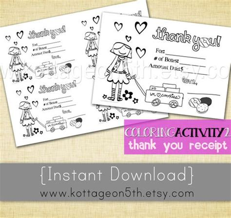 printable thank you cards girl scout cookies thank you cards girl scouts and coloring pages on pinterest