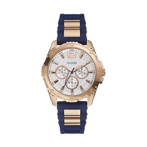 Jam Tangan Guess Analog guess jam tangan wanita multifunction biru rubber