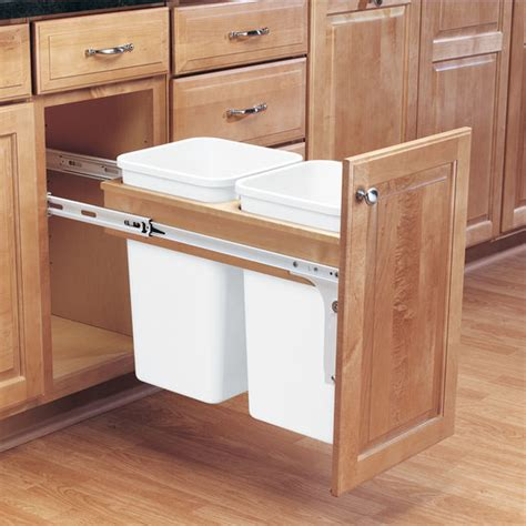 Kitchen Cabinet Trash Bin Rev A Shelf Pull Out Waste Bins For Framed Cabinet 27 50 Quart 6 75 12 5 Gallon