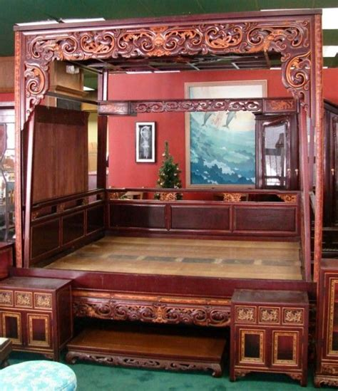 chinese wedding bed chinese wedding beds 150a chinese mahogany marriage or quot opium quot bed lot 150a chinese