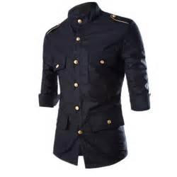 new mens fender s s dress shirt black gold guitar pattern 2016 new men s epaulet long sleeve cargo dress shirts