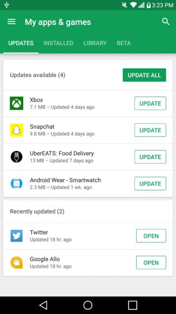 google play  android refreshes   apps games screen talkandroidcom