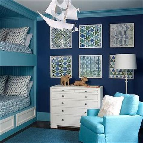 nautical boys bedroom cottage boy s room phoebe howard blue fish themed boys bedroom with gray wash bunk beds