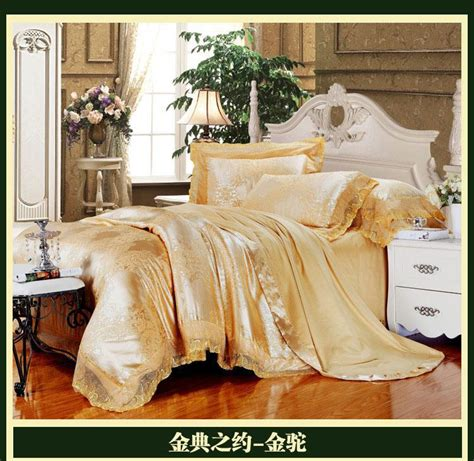 gold comforter sets king size gold luxury brand lace satin jacquard bedding comforter