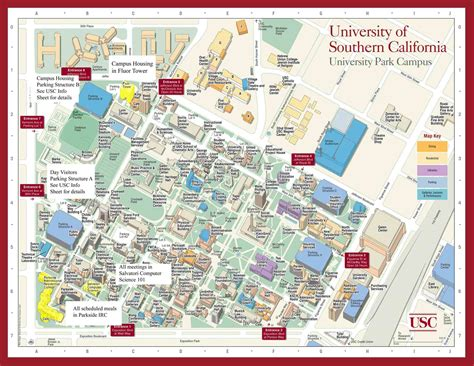 southern parking map usc cus map of southern california mappery
