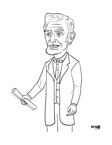 abe lincoln coloring page mcillustrator